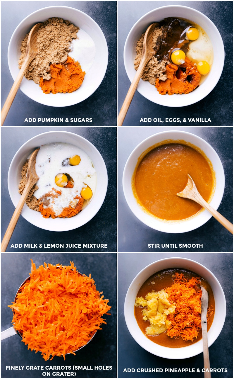Process shots-- images of the wet ingredients being stirred together for Pumpkin Carrot Cake.