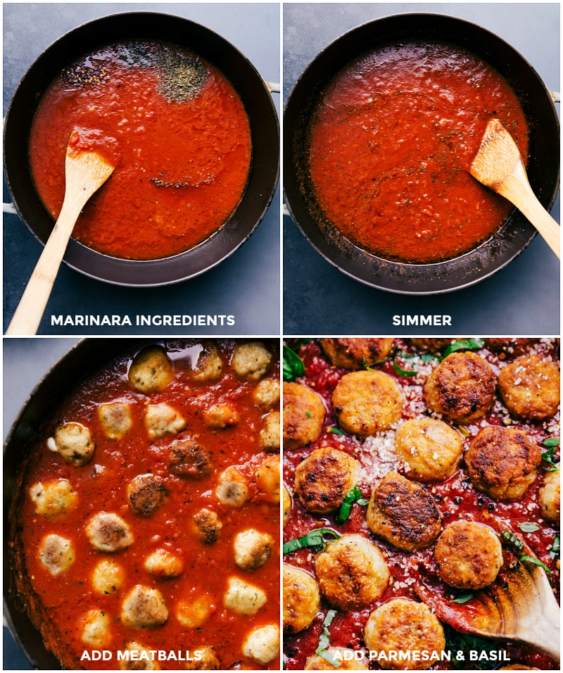 Process shots-- images of the marinara sauce being made; meatballs being added and cooked in it.