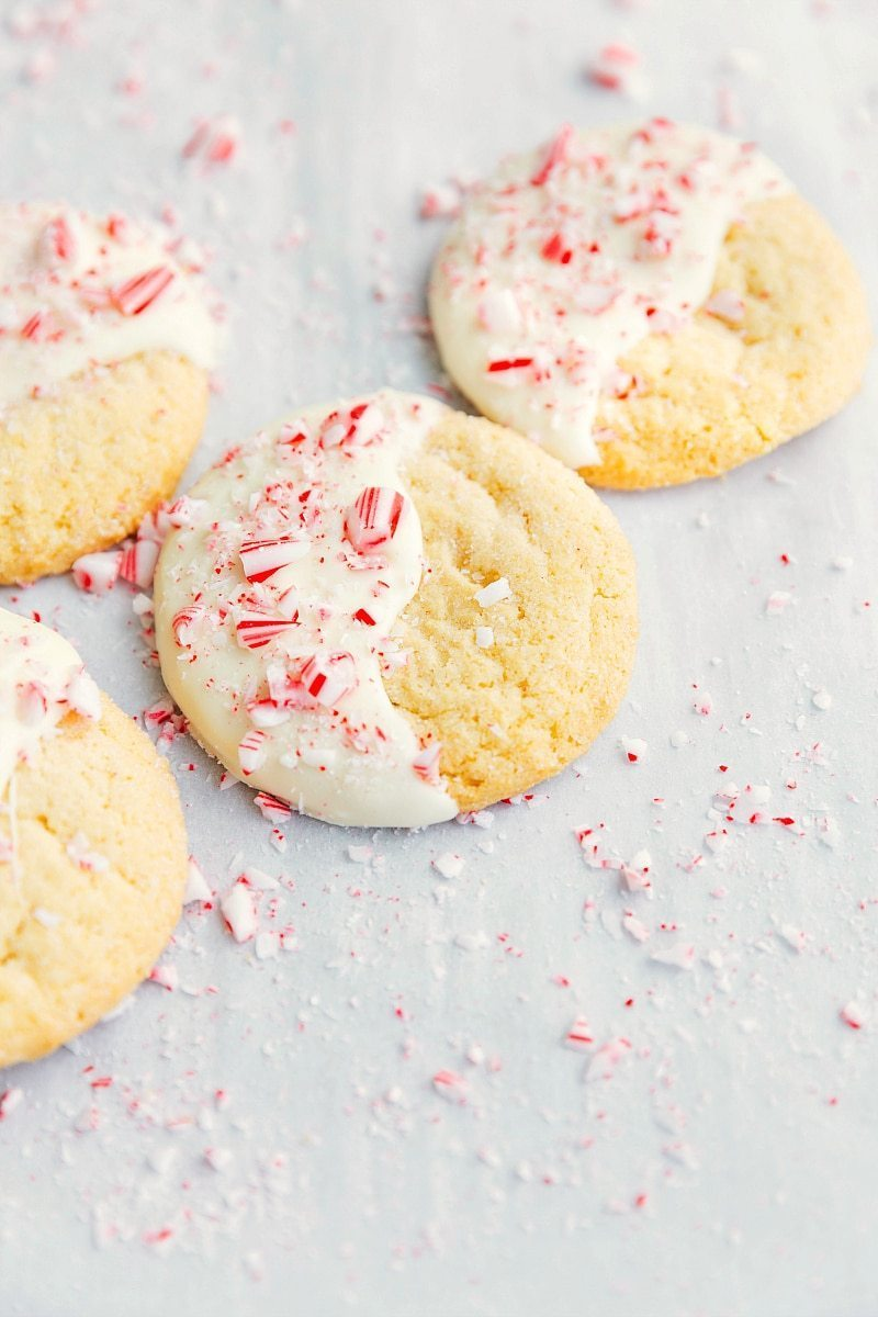 Overhead image of the white chocolate peppermint cookies
