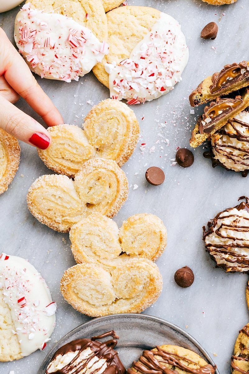 Overhead image of the palmier cookies along with all the other 3-ingredient Christmas cookies