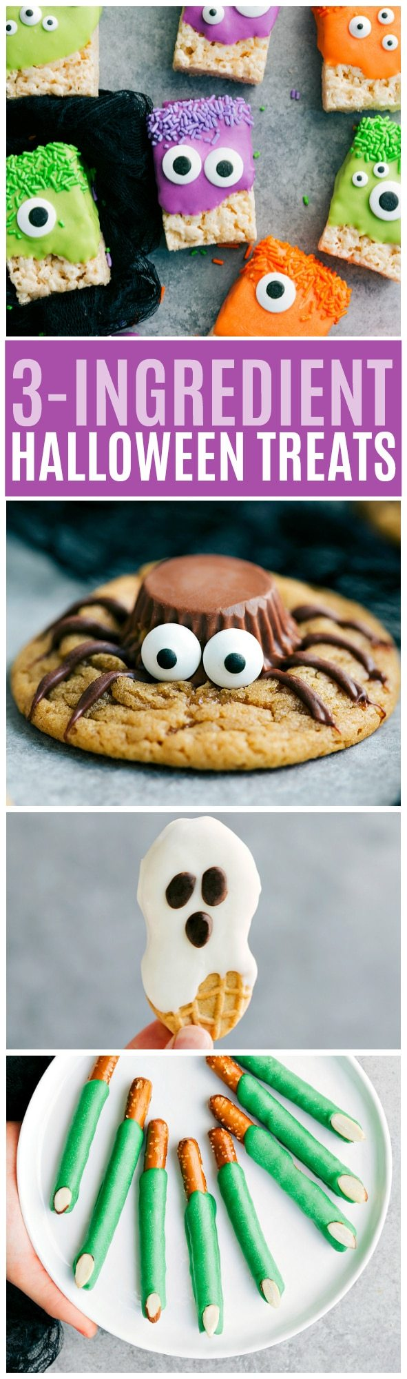 Three adorable and EASY Halloween treats -- all three ingredients! via chelseasmessyapron.com