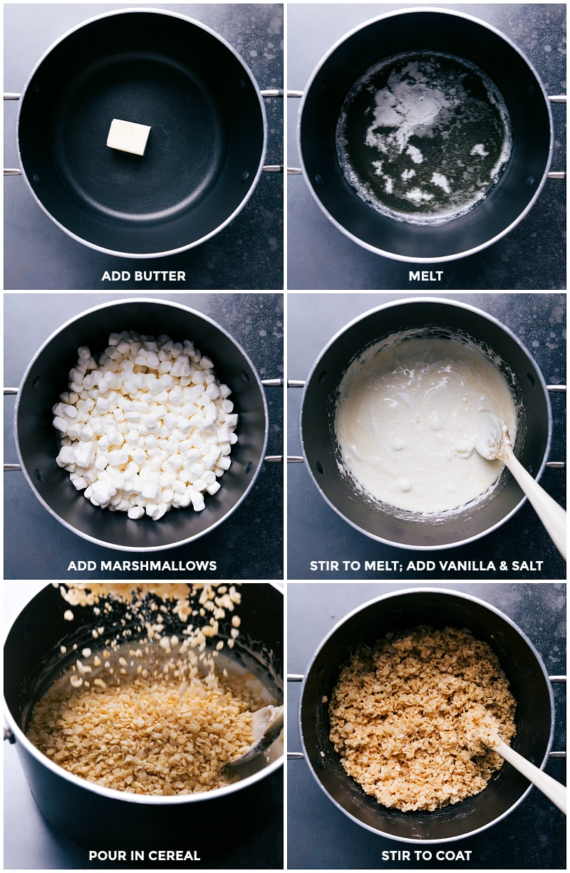 Process shots: melt butter; stir in and melt marshmallows; add vanilla and salt; pour in cereal; stir to coat.