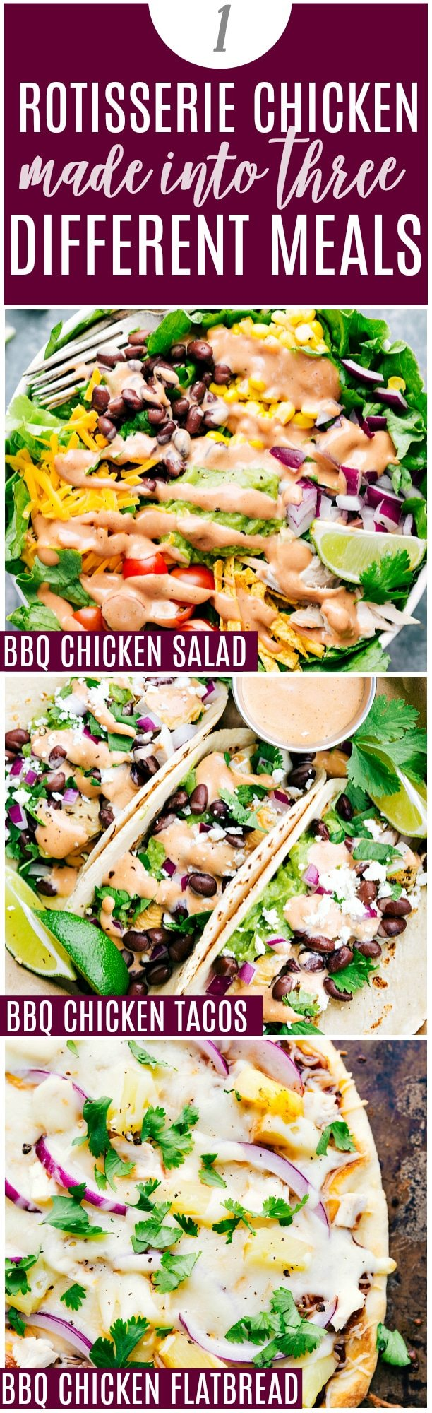 THREE of the most amazing and delicious (and totally easy) dinners made from ONE Rotisserie Chicken. Video, free shopping list, free printable recipes. All kid-friendly, delicious, and crazy quick to make! via chelseasmessyapron.com
