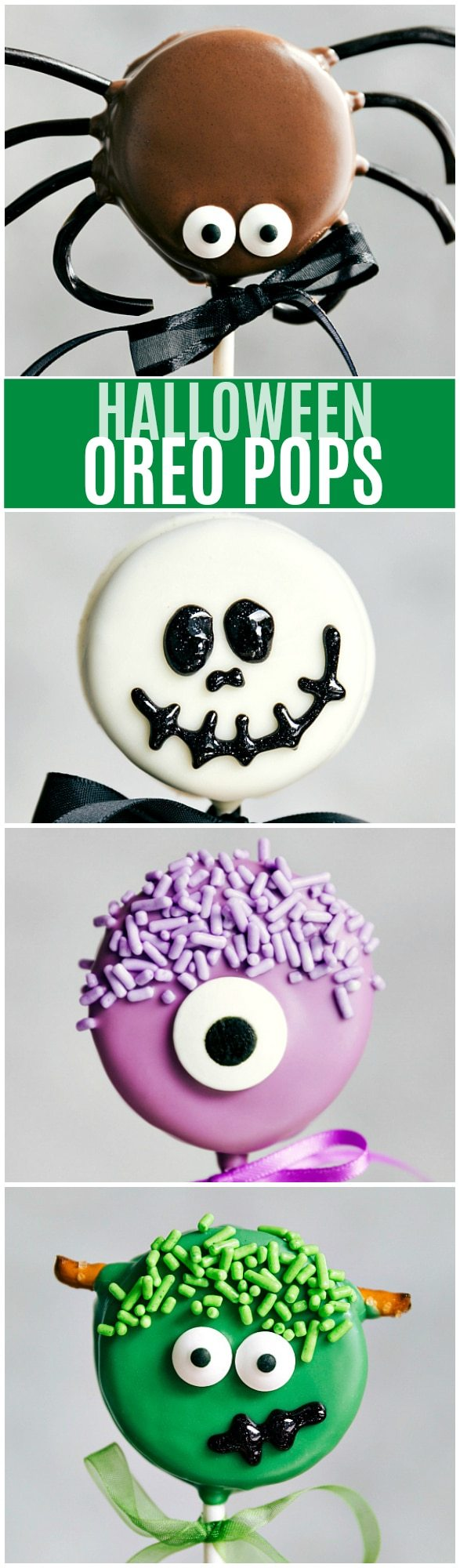 The Cutest (and super simple) Oreo Pops decorated for Halloween -- Spider Oreo Pops, Skeleton Oreo Pops, Frankenstein Oreo Pops, and Monster Oreo Pops Read the rave reviews!! via chelseasmessyapron.com
