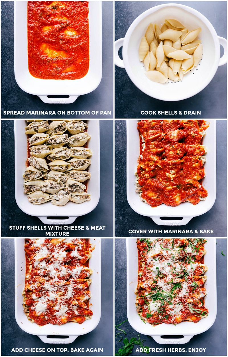 Process shots: spread marinara sauce on the bottom of the pan; cook and drain shell pasta; stuff shells with the meat and cheese mixture; cover with marinara sauce and bake; add cheese and continue baking; add fresh herbs and serve.