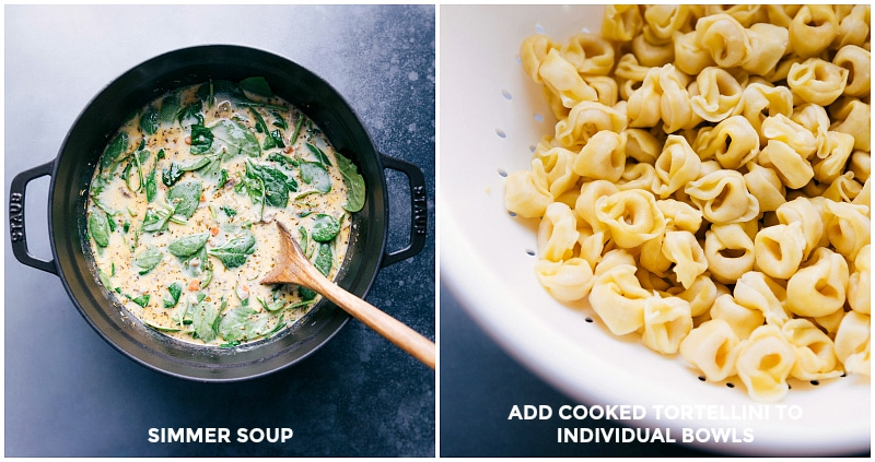 Process shots-- images of the soup simmering and the tortellini being cooked separately