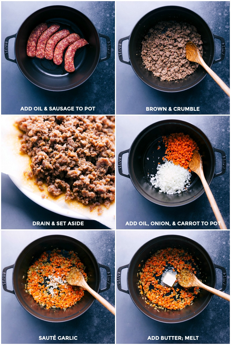 Process shots-- images of the sausage being browned and crumbled, and the veggies being sautéed in the pot.