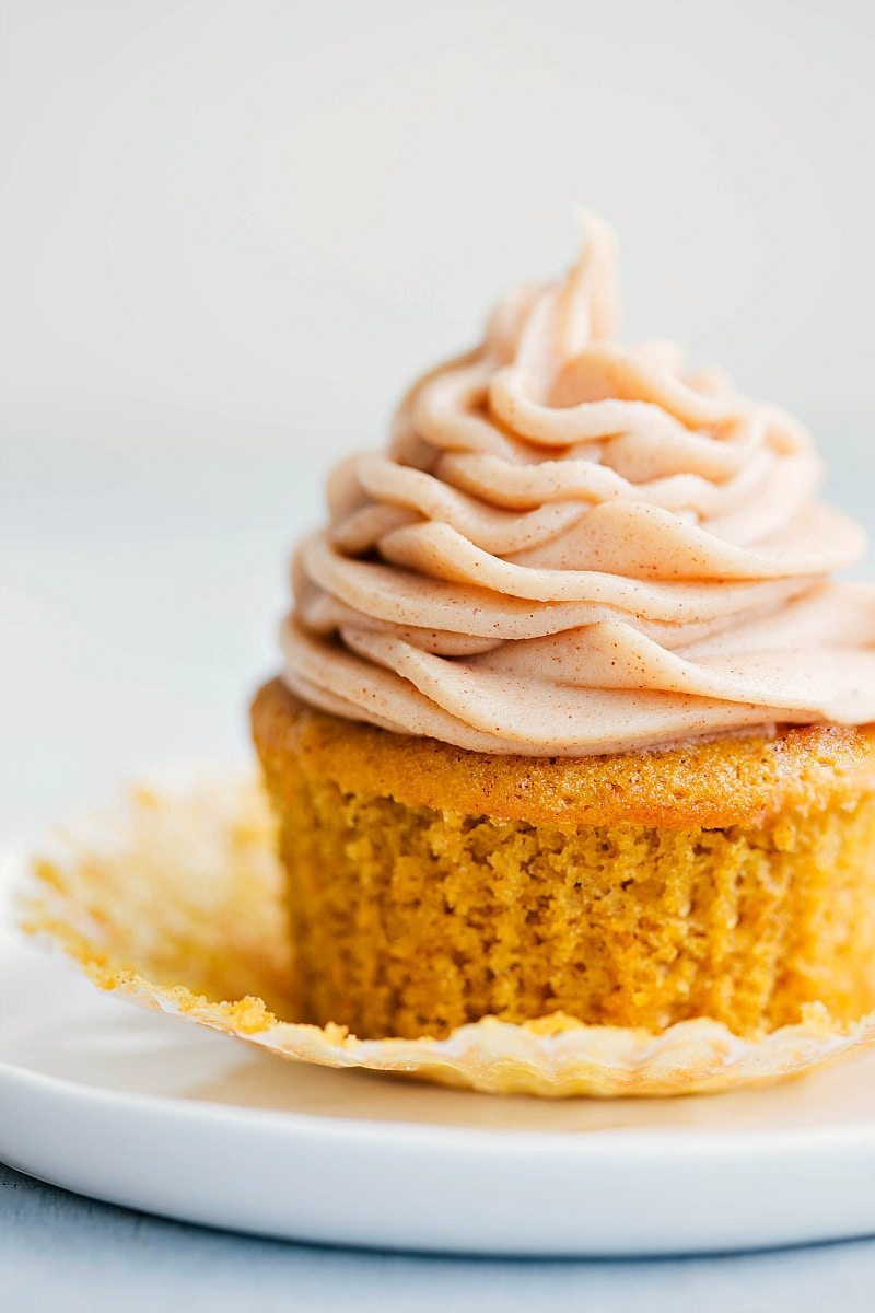 Image of the ready to eat pumpkin cupcake with cinnamon cream cheese frosting on it
