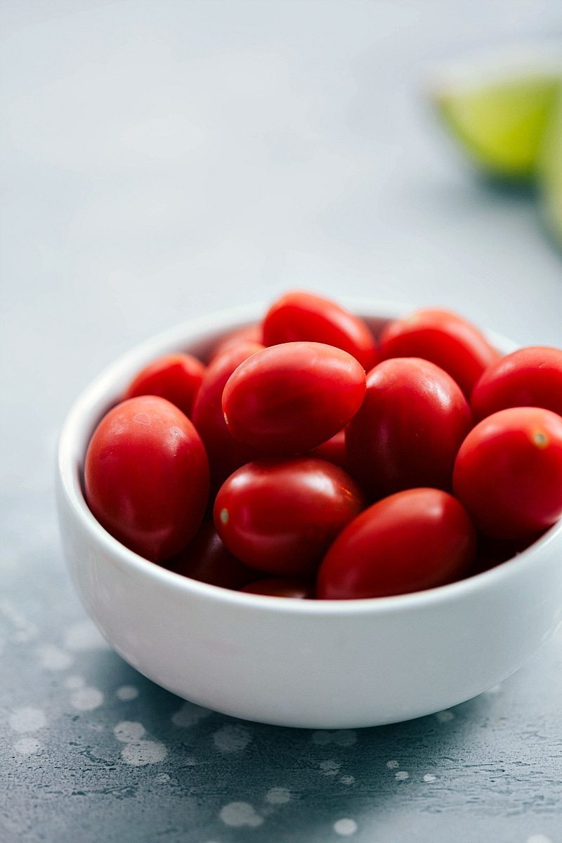 Image of the cherry tomatoes that go into this ground turkey taco salad