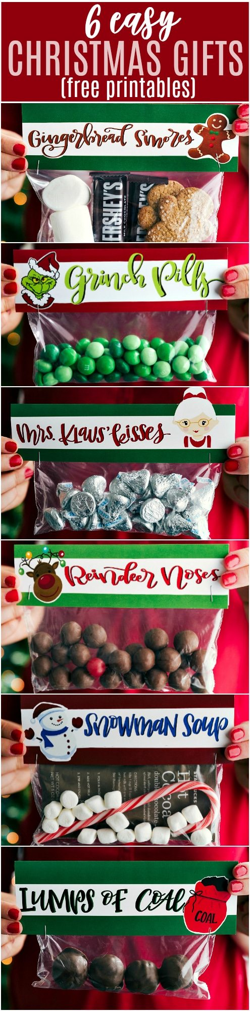 EASY CHRISTMAS GIFTS AND FREE PRINTABLES | 6 of the easiest Christmas gifts ever! These candies/treats are put in a snack-size ziplock bag and you can staple on the FREE printable bag toppers! chelseasmessyapron.com