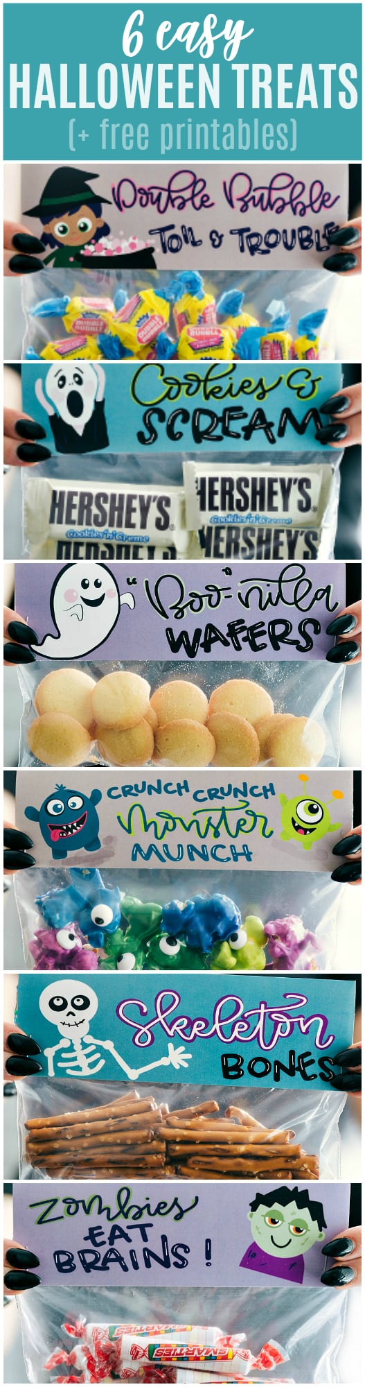 6 fun and festive easy Halloween bags filled with delicious treats! These candies/treats are put in a snack-size ziplock bag and you can staple on the FREE printable bag toppers! via chelseasmessyapron.com #halloween #gift #favor #party #dessert #candy #treat #easy #quick #free #printable #witch #pumpkin #dracula #zombie #mummy #ghost #skeleton #monster #zombies #kids #healthy #healthier #simple #fun #halloween #decor
