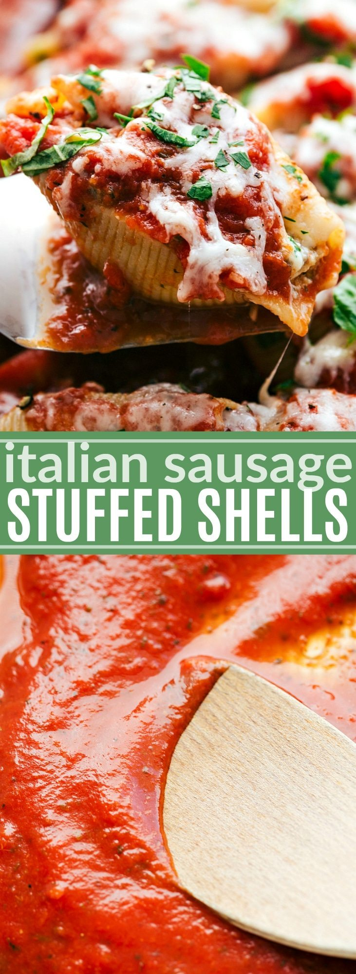 The ultimate BEST EVER stuffed Italian Sausage Shells -- easy and delicious!! via chelseasmessyapron.com