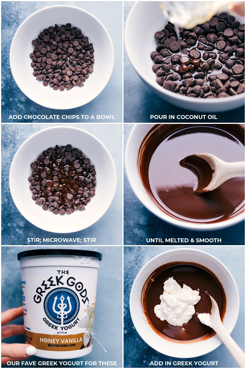 Process shots: images of the chocolate chips and coconut oil being melted and stirred together then adding Greek yogurt to the melted chocolate