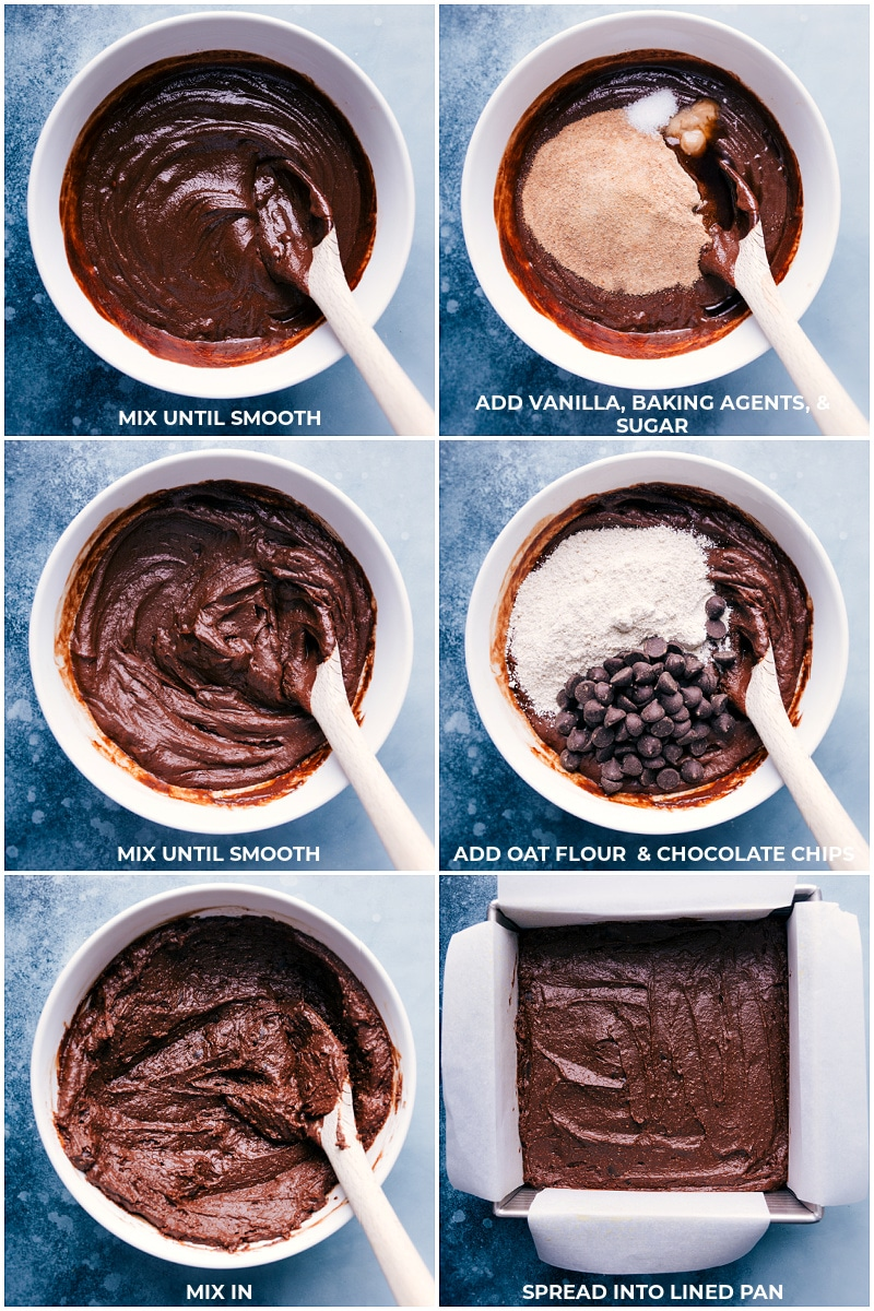 Process shots: images of the vanilla, baking agents, and sugar being added and mixed together, then the oat flour and chocolate chips being added