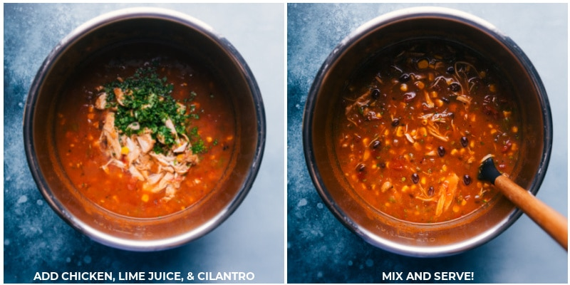 Process shots-- images of the chicken, lime juice, and cilantro being added to the instant pot and mixed together