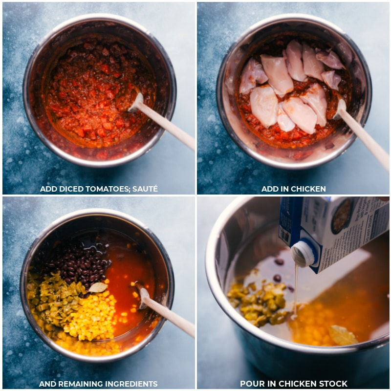 Process shots-- images of the diced tomatoes, chicken, chicken stock, and remaining ingredients being added to the instant pot