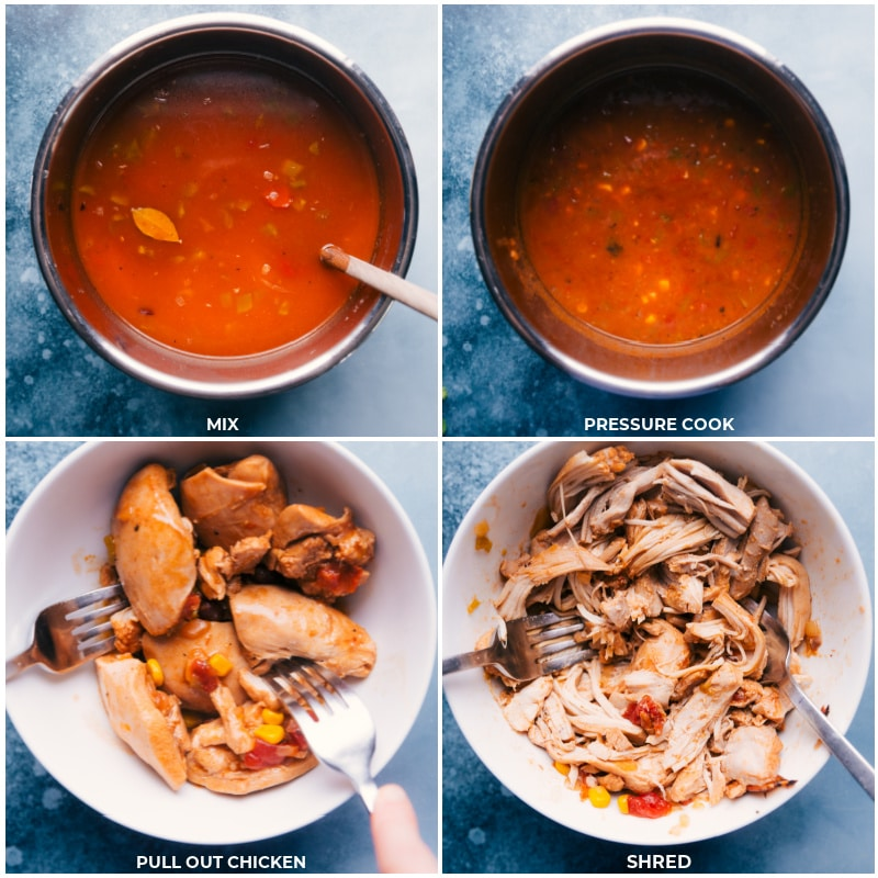 Process shots of instant pot chicken tortilla soup-- images of the chicken being pulled out and shredded
