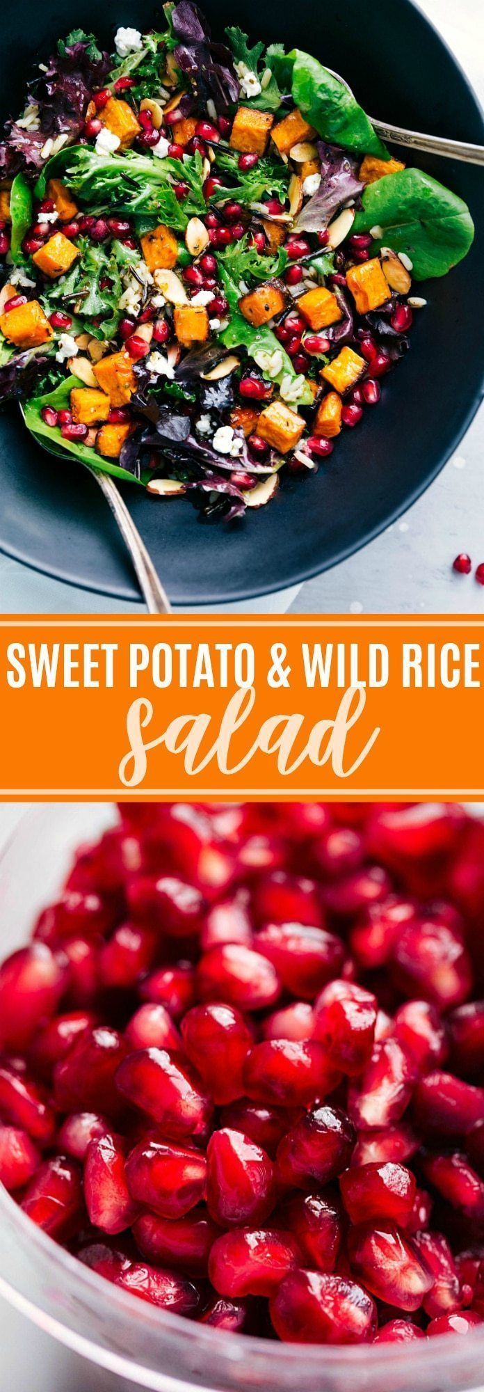 The BEST roasted sweet potato and wild rice salad   chelseasmessyapron.com   #sweetpotato #wildrice #salad #thanksgiving #fall #health #healthy #lemon #dressing #best #popular #easy #quick #pomegranate #almond #cheese #kidfriendly