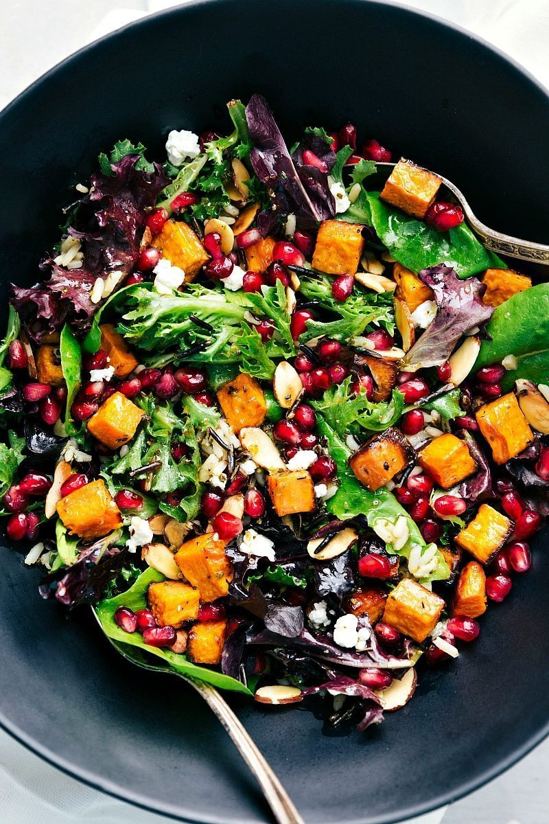 The BEST roasted sweet potato and wild rice salad | chelseasmessyapron.com | #sweetpotato #wildrice #salad #thanksgiving #fall #health #healthy #lemon #dressing #best #popular #easy #quick #pomegranate #almond #cheese #kidfriendly