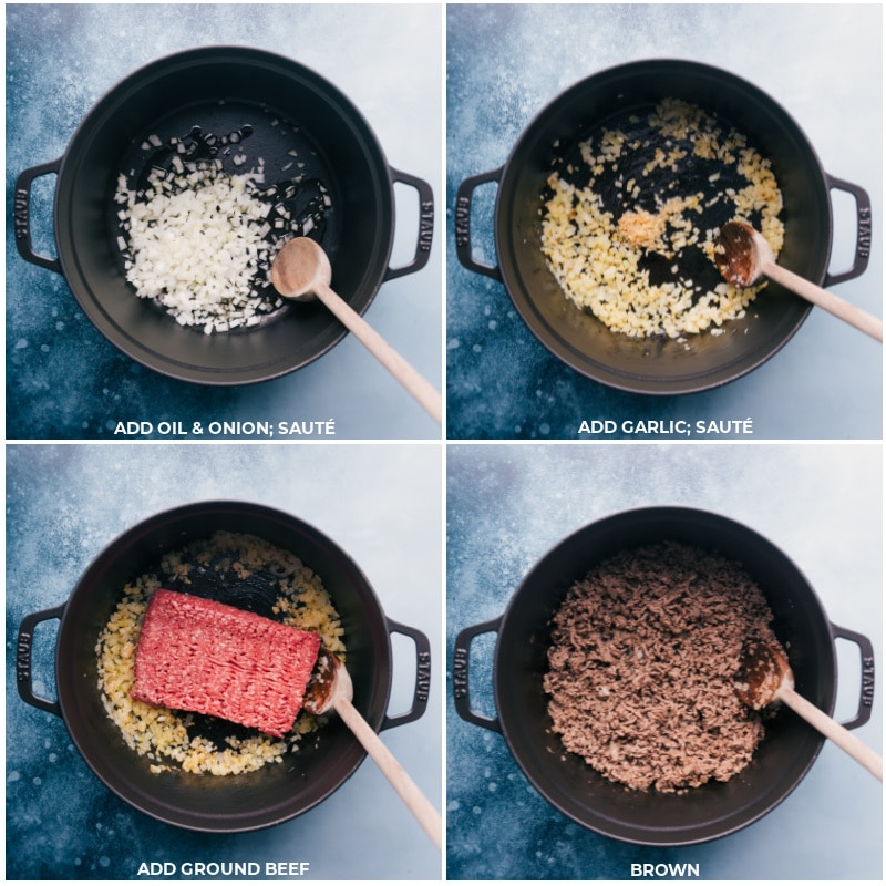 Process shots-- images of the oil, onion, garlic, and ground beef being added
