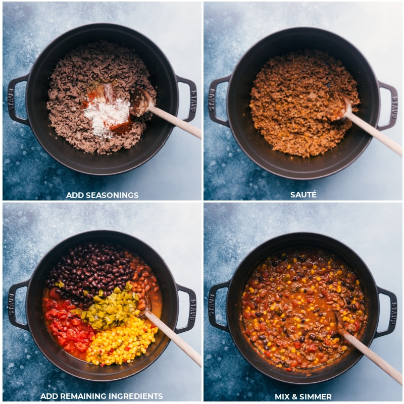 Process shots of taco chili-- images of seasonings and the remaining ingredients being added and mixed together and simmered