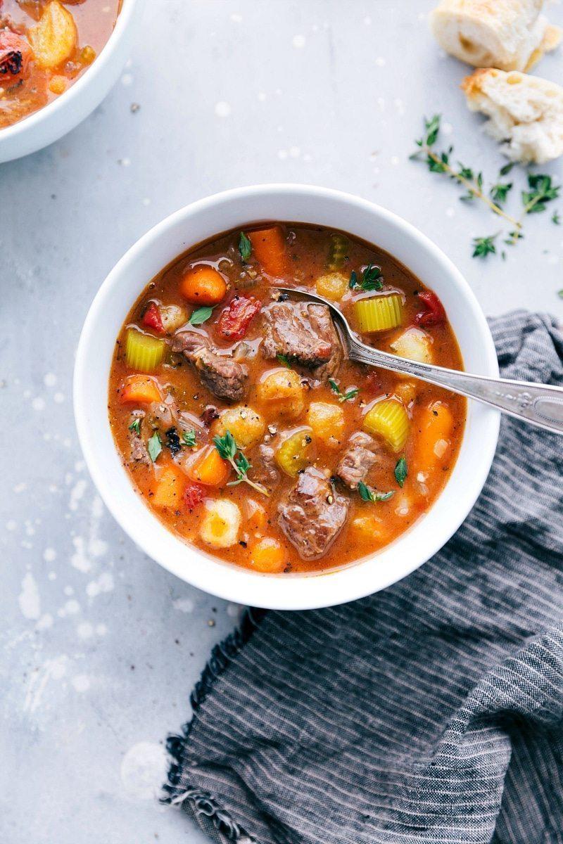 The BEST EVER Crockpot Beef Gnocchi Stew! chelseasmessyapron.com | #beef #stew #gnocchi #dinner #crockpot #slowcooker #easy #quick #familyfriendly #dinner #best