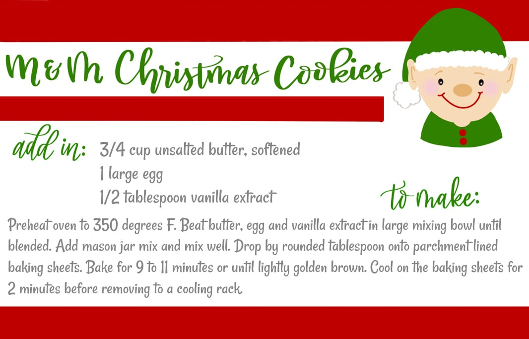 graphic regarding Cookie Printable known as Mason Jar Reward: MM Xmas Cookies Totally free Printables