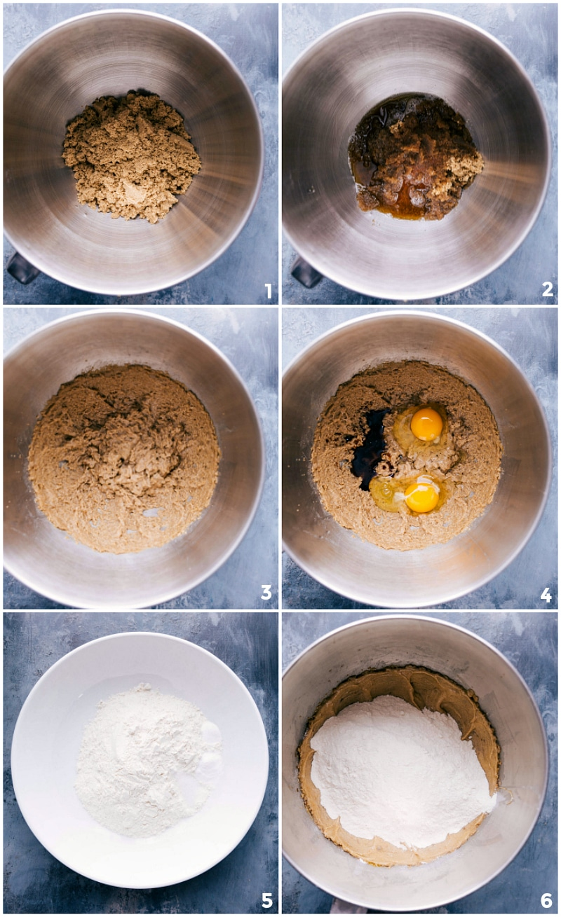 Process shots-- images of the cookie dough being made and being mixed together with all the ingredients