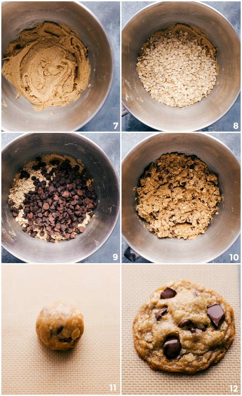 Process shots-- images of the oats and chocolate chips being added to the dough and being mixed together and then rolled into a ball and placed on a baking sheets to be baked