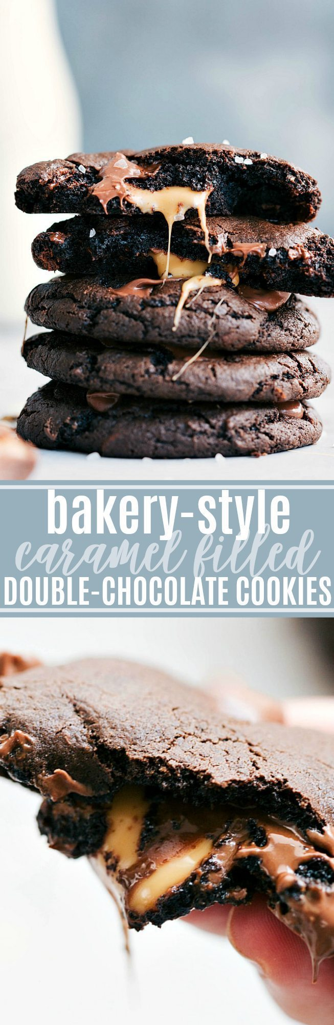 AWARD WINNING caramel filled double-chocolate cookies!! via chelseasmessyapron.com | #cookie #holiday #baking #chocolate #dessert #desserts #caramel #easy #quick #familyfriendly #christmas #cookies #bake #baked #butter #eggs