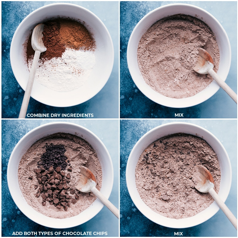 Process shots-- images of the dry ingredients being prepped and mixed together