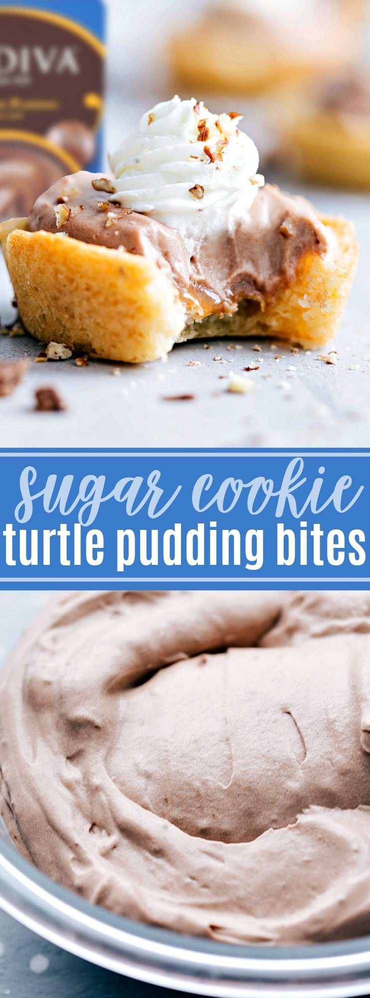The ultimate BEST EVER TURTLE PUDDING BITES made in a sugar cookie cup! Only SIX ingredients! chelseasmessyapron.com #dessert #sugar #cookie #pudding #bites #turtle #easy #quick #familyfriendly #popular