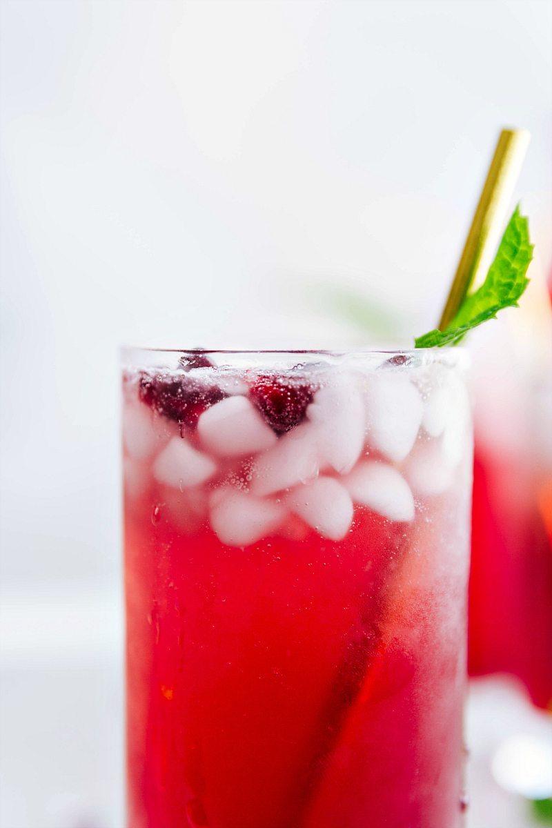 Sparkling pomegranate lemonade in a glass.