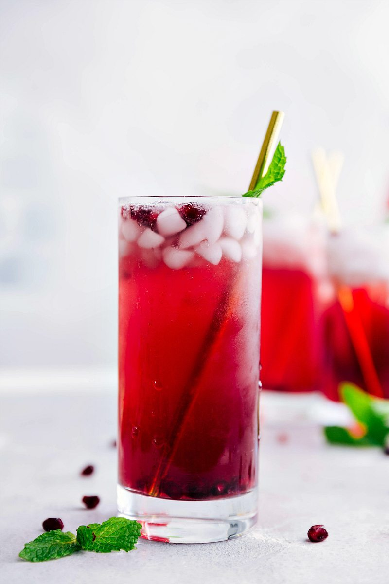 Sparkling pomegranate lemonade in a glass.