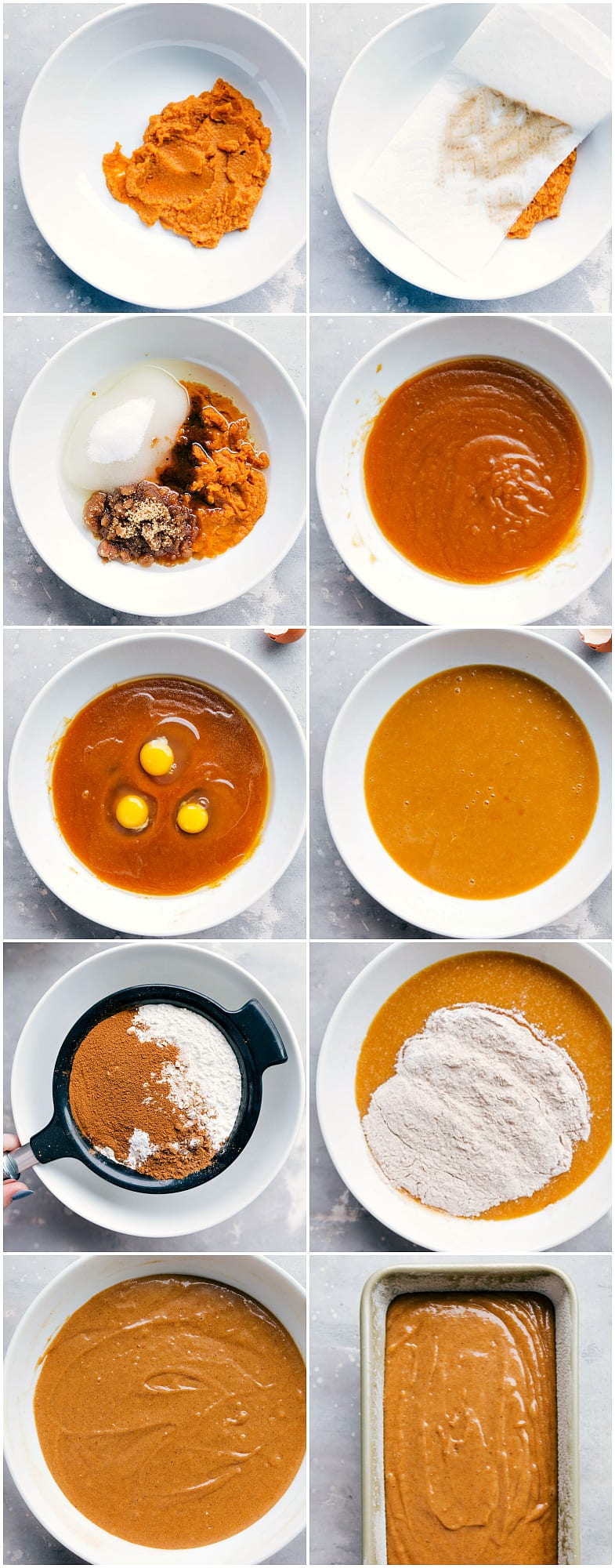 10 process photos of making pumpkin bread