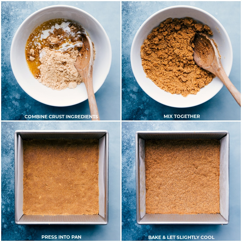 Process shots-- images of the crust being mixed together and pressed into the pan