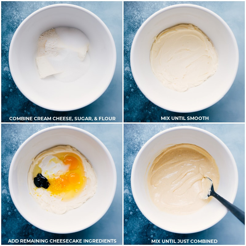 Process shots-- images of the cream cheese, sugar, and flour being mixed together, then the remaining cheesecake ingredients being added and all mixed together