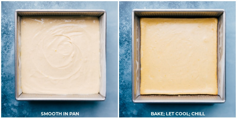 Images of the vanilla cheesecake bars being baked