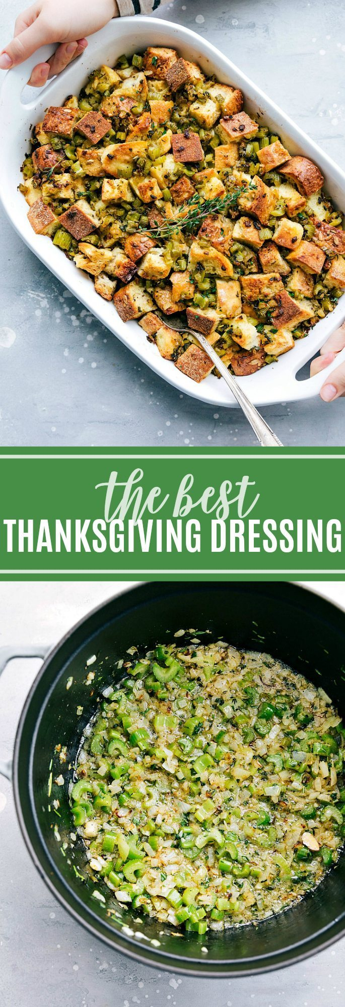 The ultimate BEST EVER simple (and you can make ahead!) Thanksgiving dressing! via chelseasmessyapron.com #thanksgiving #dressing #easy #dinner #fall #bread #quick #makeahead