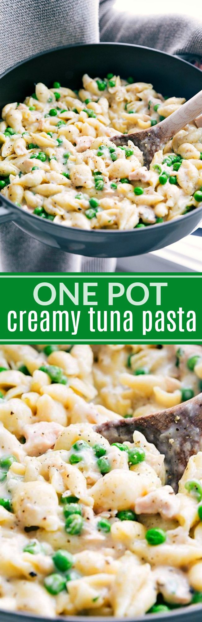 The best and easiest ONE POT creamy tuna pasta! A super easy and quick ONE DISH dinner! via chelseasmessyapron.com | #tuna #creamy #pasta #onepan #onepot #easy #quick #peas #comfort #food #recipe #recipes