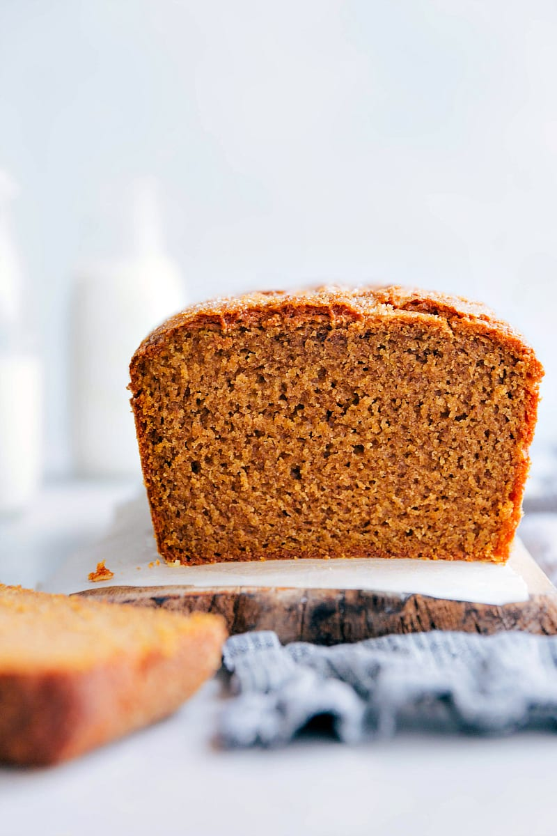 Up close photo of a cut into loaf of pumpkin bread