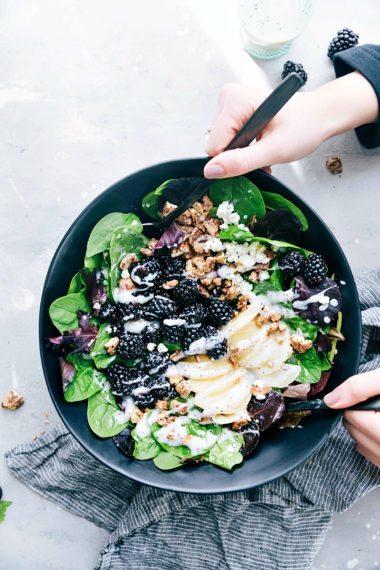 Pear Blackberry Salad and Ham & Corn Chowder