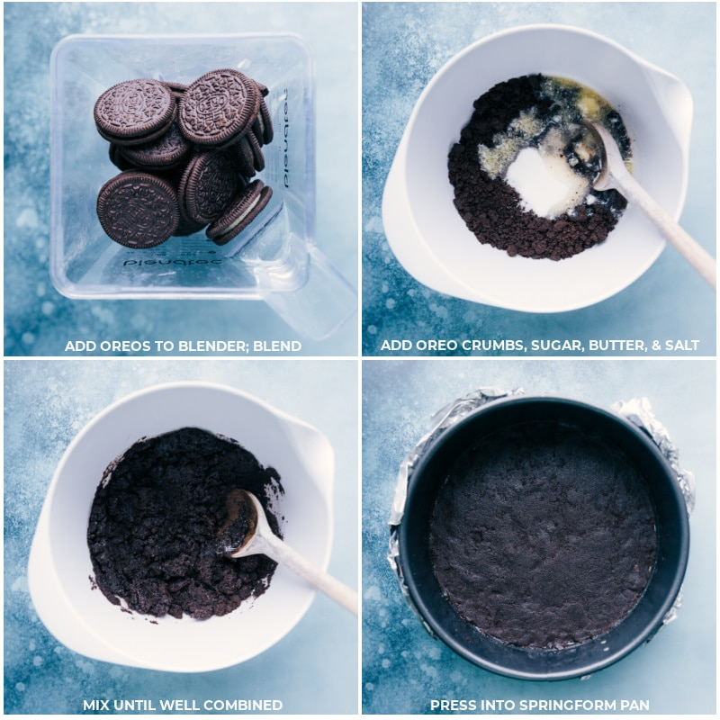 Process shots-- images of the Oreo crust being made and pressed into a pan