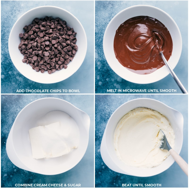 Process shots-- images of the Chocolate Cheesecake filling being made by melting chocolate chips and combining cream cheese and sugar