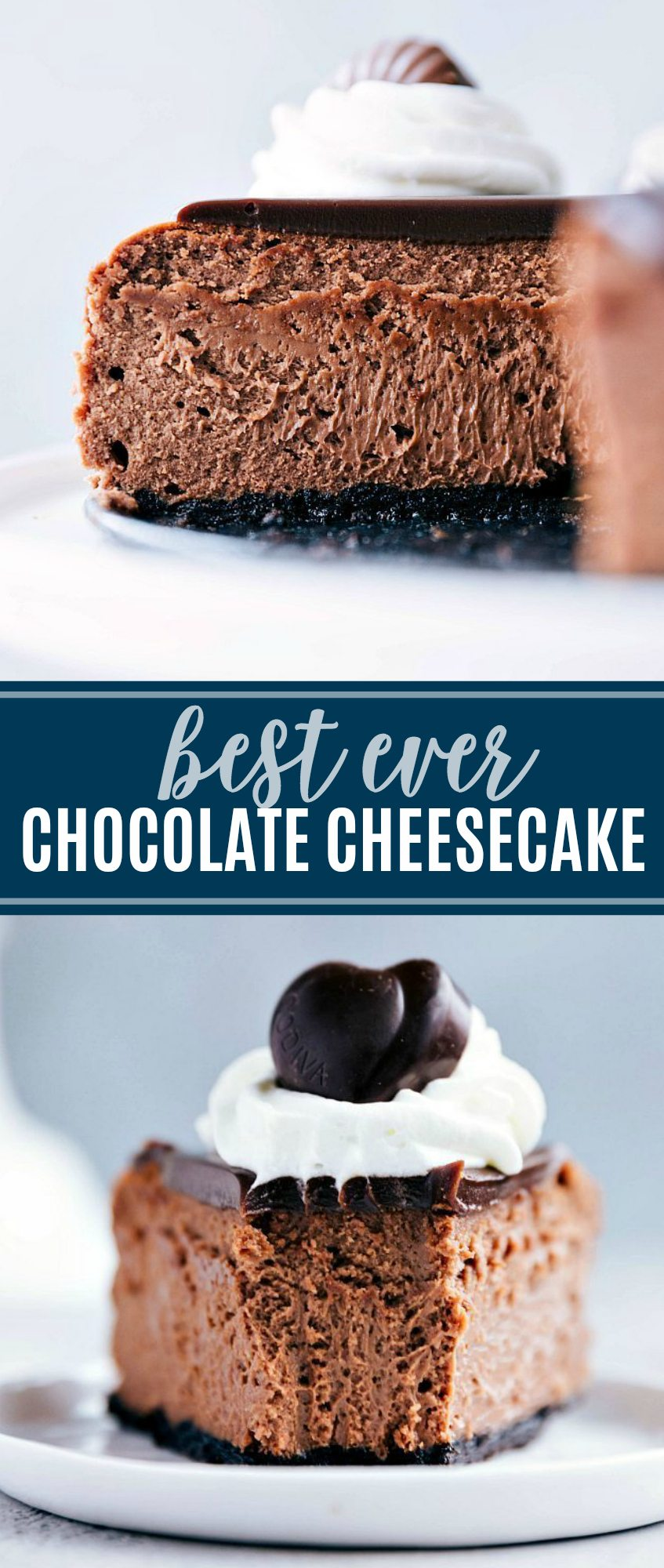The ultimate best ever chocolate cheesecake with a chocolate-cookie base, smooth milk chocolate interior, an easy chocolate ganache | chelseasmessyapron.com | #chocolate #cheesecake #dessert #tips #tricks #baking #holiday #treat