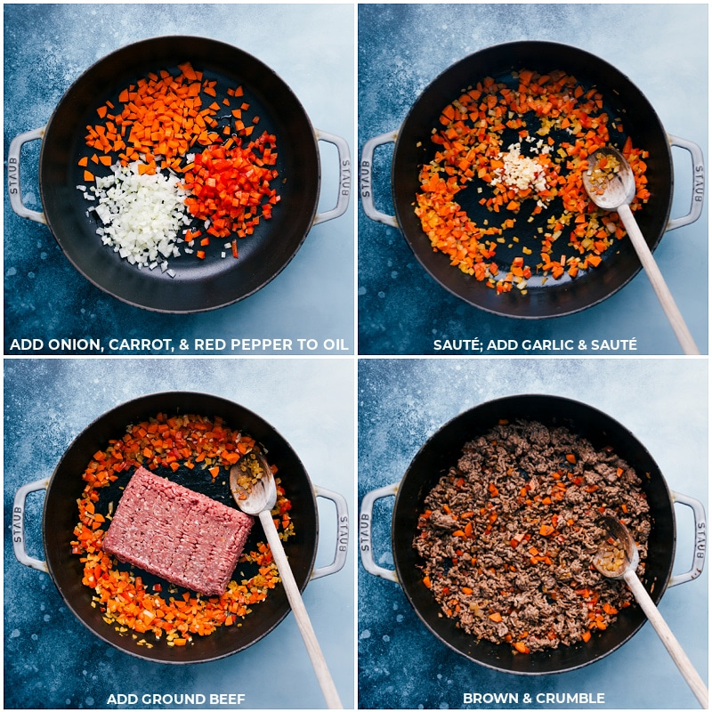 Process shots-- images of the veggies being sautéed and the ground beef being added