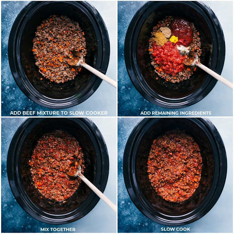 Process shots-- images of the meat and veggie mixture being added to the crockpot and reminding ingredients being added on top to be slow cooked