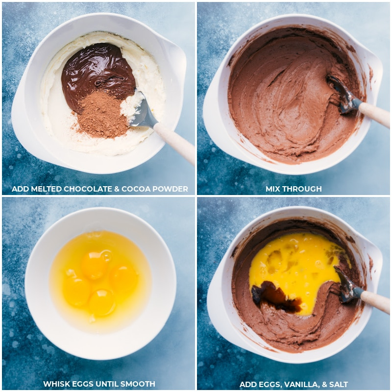 Process shots-- images of the melted chocolate and cocoa powder being added to the cream cheese sugar mixture and eggs, vanilla, and salt being added on top