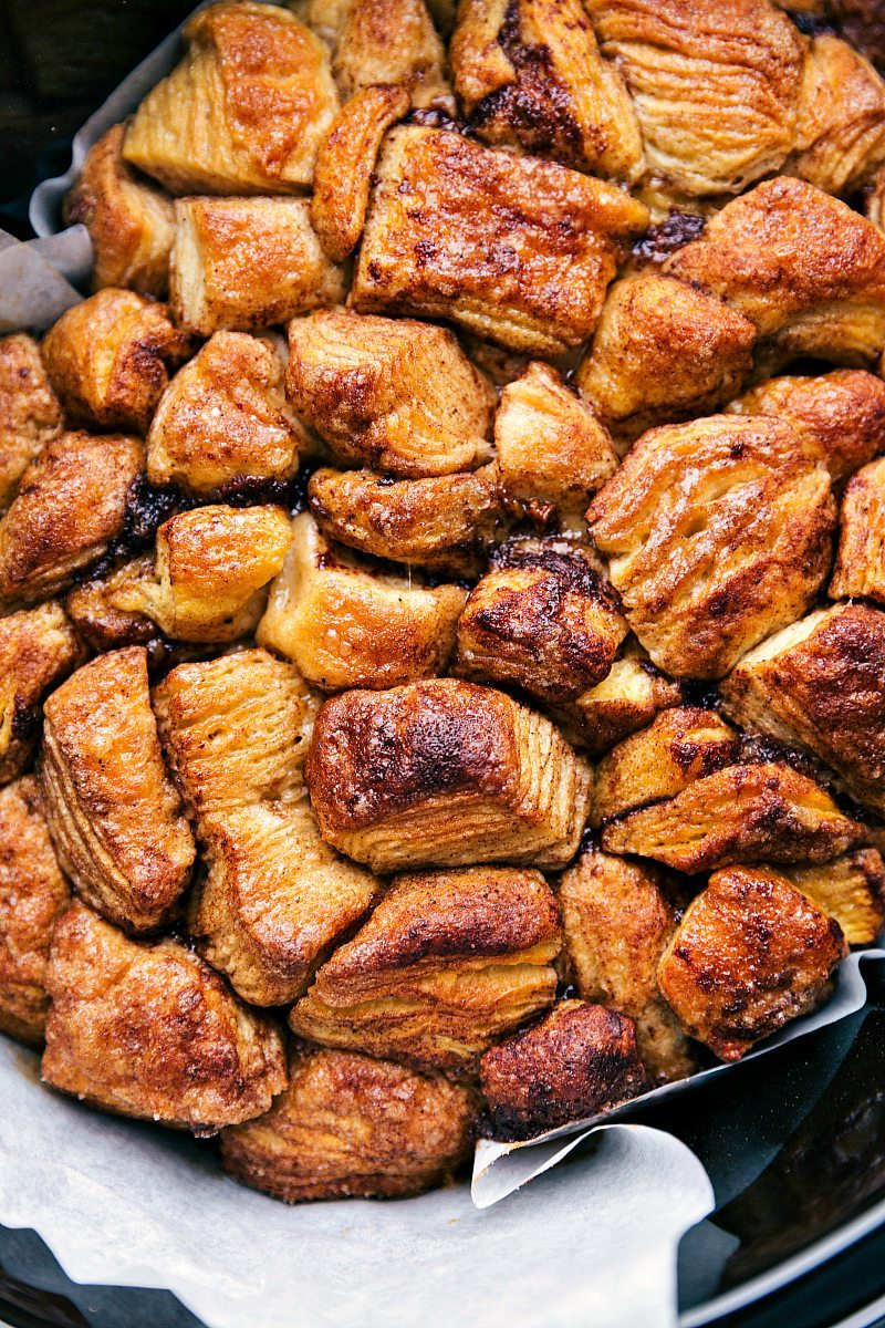Overhead image of the cooked monkey bread in the crockpot