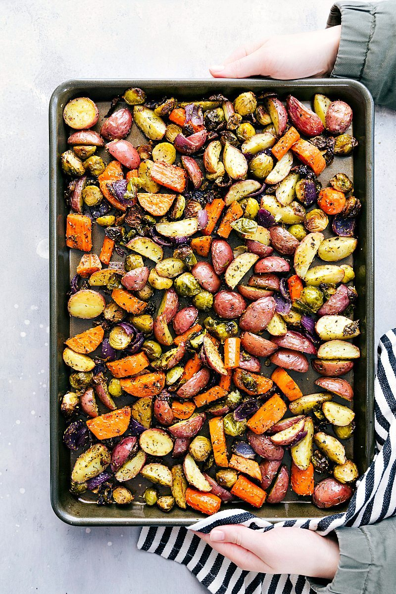 A pan full of roasted vegetables